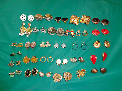 Lot of 30PR Clip on Earrings Rhinestone, Enamel & More Many Styles Some Signed