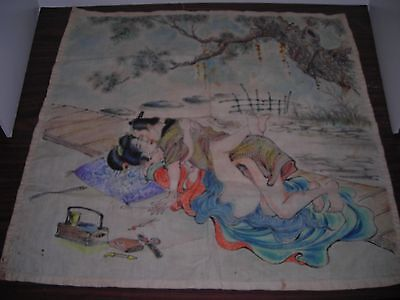 "VINTAGE  WOODBLOCK PRINT { on fabric } LARGE 19""X19"" EXPLICIT JAPANESE  EROTICA"