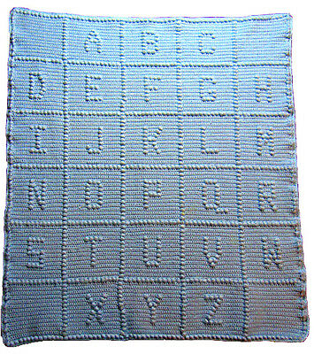 NEW Light Pale BLUE HANDMADE CROCHET ALPHABET BABY Boy AFGHAN ABC BLANKET