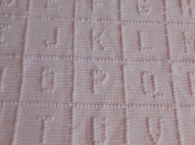 NEW Light PASTEL Pink Girl HANDMADE CROCHETED ALPHABET BABY ABC AFGHAN BLANKET