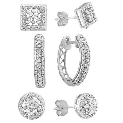 1/10 ct. tw. Diamond April Birthstone 3-Piece Earring Box Set in Sterling Silver