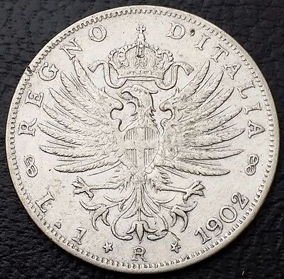 1902R Italy Lira 0.835 Silver Coin KM# 32 - Nice XF Details