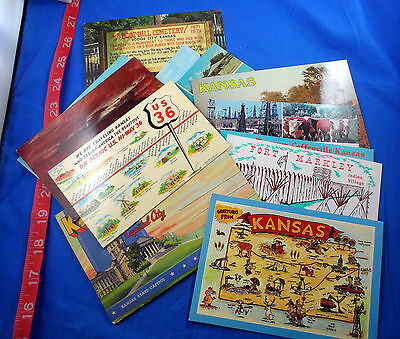 Old Kansas Vintage Postcard Lot Of 11 Pieces, Variety, Including One Fold-Out