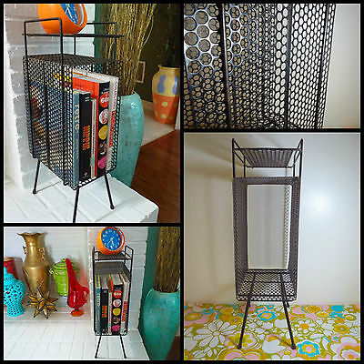 VTG 1950s MID Century Modern Black Metal Phone Magazine Floor Stand Rack Table