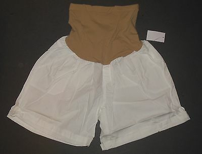 White Maternity Shorts NWT M L XL Cuffed Secret Fit Belly Motherhood Oh Baby