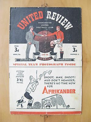 MANCHESTER UNITED v MANCHESTER CITY 1947/1948 Good Condition Football Programme