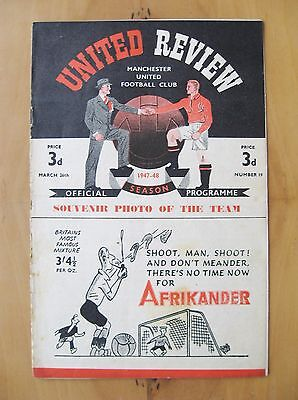 MANCHESTER UNITED v BOLTON WANDERERS 1947/1948 Good Condition Football Programme