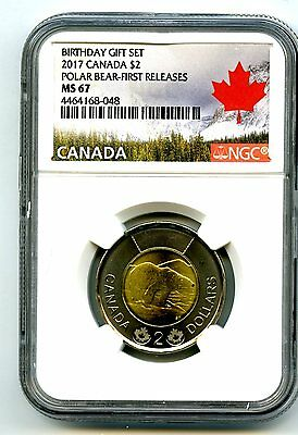 2017 Canada $2 Polar Bear Birthday Set Toonie Ngc Ms67 First Releases Top Pop=4