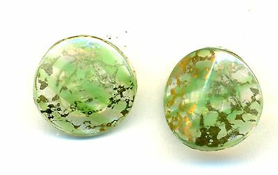 Pair Small Green Glass Buttons w/Gold Overlay