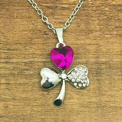 Fashion Rhinestones Crystal Heart Clover Pendant Chain Silver Necklace Rose #3