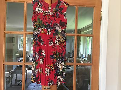 Joules 'Luscombe' Red Floral Ladies Sleeveless Dress Size UK 10