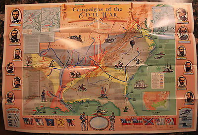 Original 1961 Centennial Commemorative Civil War Map