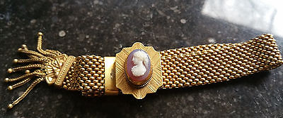 9K or Gold Filled Antique Mesh Bracelet with Carnelian Woman Cameo Slide