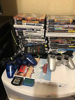 Sony PlayStation 2 PS2 2 Controllers 29 Games Lot