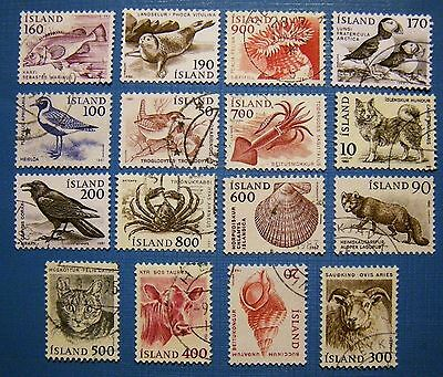 ICELAND 1980s 16 stamps Animals Dog Cat Shell Crab Squid Fish Used Very Nice