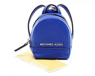 Michael Kors NEW Electric Blue Silver Rhea Zip Backpack Keychain $68- #006