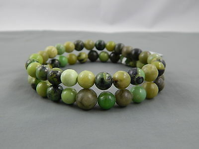 2 PC NWT Chinese Export Multi Color Green Chrysoprase Bead Bracelet Lot