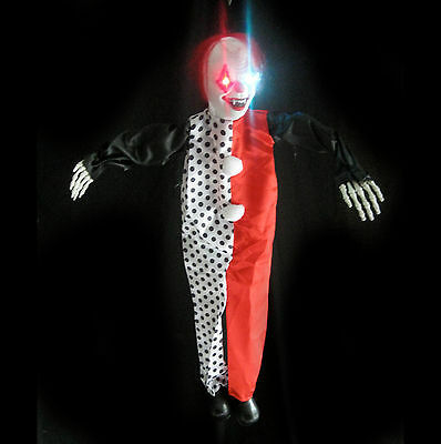 Hanging Evil Clown Ghost Lighted Haunted House Halloween Prop 36""