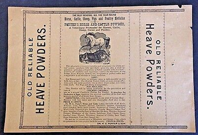 Vintage Original Paper Label Sheet Porter's Horse and Cattle Powder Towanda, Pa.