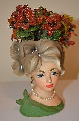 "WOMAN LADY HEAD VASE Pearl Earring Necklace Napco Flower Planter 6"" VTG 50s 60s"