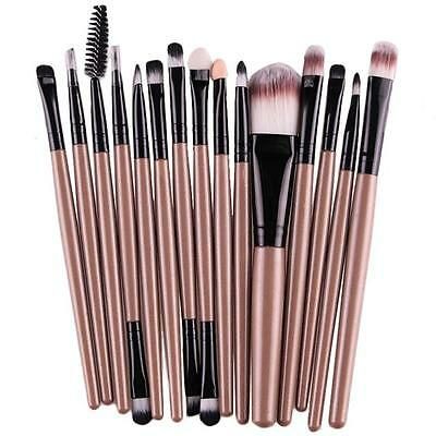 @15 pcs/Sets Cosmetic Brush EyeShadow Foundation Eyebrow Lip Makeup Brushes  GD