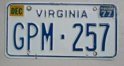 1977 Virginia Passenger Car License Plate (De Tour)