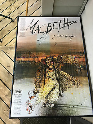 Ralph Steadman 1982 Royal Shakespeare Company Macbeth Post Original FINE Framed