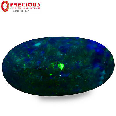 3.08 ct PGTL Certified  Oval Cabochon (16 x 8 mm) Flashing Multicolor Black Opal