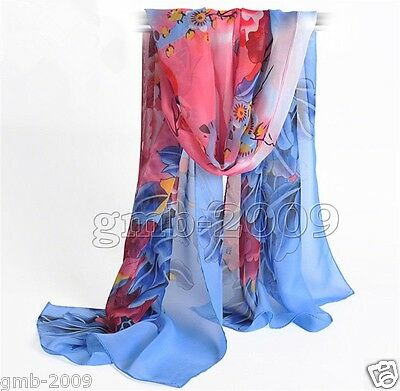 New Women's Fashion Blue Rich Flower Long Soft Chiffon Silk Wrap Shawl Scarf