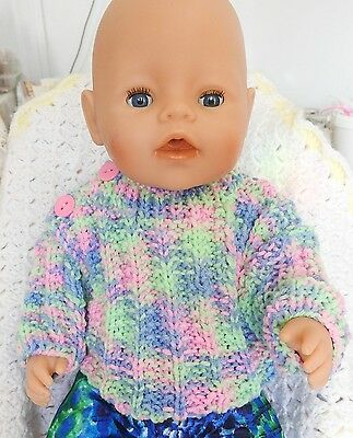 CLOTHES  FOR  'AG,'BABY BORN', 'CPK 'dolls HAND KNITTED JUMPER haze