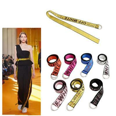 Fashion Women Men Off White Embroidered Tie Down Industrial Belt Waistband Q