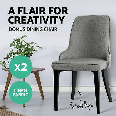 2x Dining Chair Domus Linen Fabric Retro Vintage Steel Legs Grey