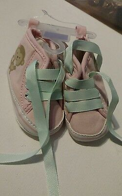 NWT Size Newborn Carters Child of Mine Pink Monkeys Shoes