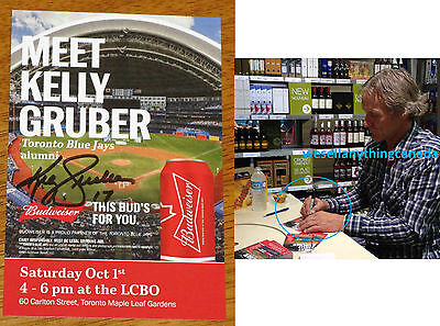 Kelly Gruber Autographed Toronto Blue Jays Budweiser Promotional Card