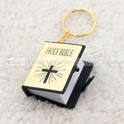 1 pc Mini Bible Keychain English HOLY BIBLE Religious Christian Jesus Gold Cover