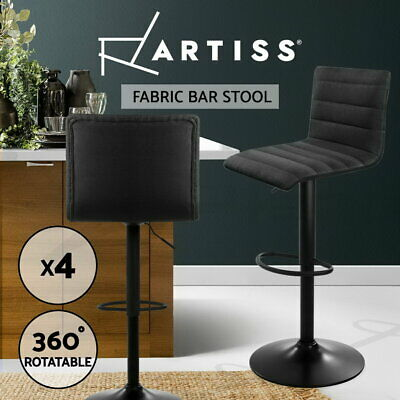 4x Bar Stool Linen Fabric Kitchen Cafe Swivel Barstool Chair Gas Lift Black