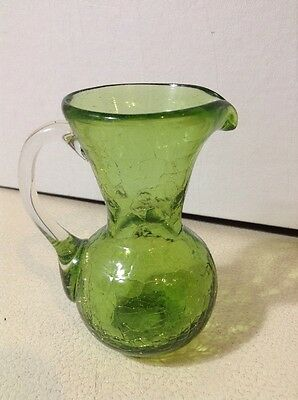 "Green  4"" Crackle Glass Creamer"