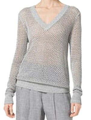 Michael Kors NEW Gray Women's Size Small S Metallic V-Neck Knit Sweater $69 #822