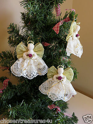 crafts 3 HANDMADE GOLD LACE  ANGELS 3 IN. XMAS VICTORIAN CHRISTIAN DECOR NEW