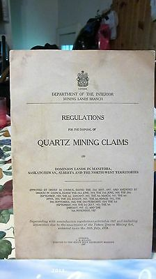 1928 Regulation Disposal Of Quartz Mining Claims In Dominion Lands Mantoba L@@k