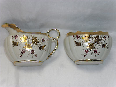 Antique Victorian Era Handpainted & Enameled Jug & Creamer Set