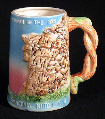 1950s Vintage OLD MAN OF THE MOUNTAIN Mug Stein FRANCONIA NOTCH NEW HAMPSHIRE