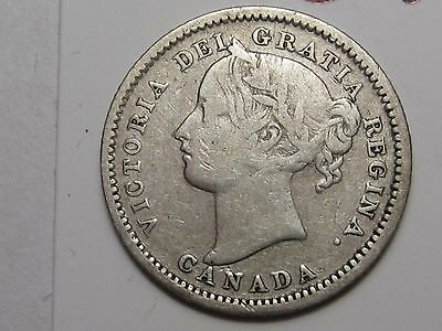 1900 Canadian Silver 10 Cent Coin. Canada 10¢.  #5