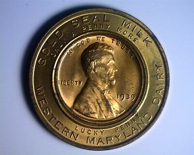 1939 Western Maryland Dairy Encased Lincoln Cent - Brilliant Uncirculated