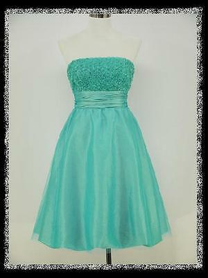 dress190 TURQUOISE BLUE BNWT 50s ROSE COCKTAIL PROM PARTY EVENING DRESS 16-18