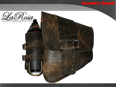 La Rosa Rustic Brown Leather Center Strap Harley Softail Saddlebag + Fuel Bottle