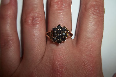10k Yellow Gold Natural Sapphire Cluster ring size 7 Vintage