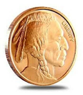 1 AVDP oz Indian Head Buffalo Copper Round .999 uncirculated