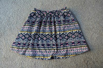 NWOT Xhilaration Blue White Yellow Pink Geometric Print A Line Skirt Size Small