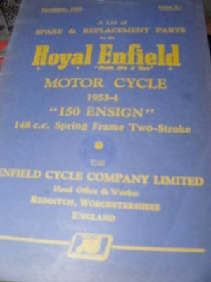 Royal Enfield 150 Ensign Spare & Replacement Parts Manual 1953-54 Genuine Manual